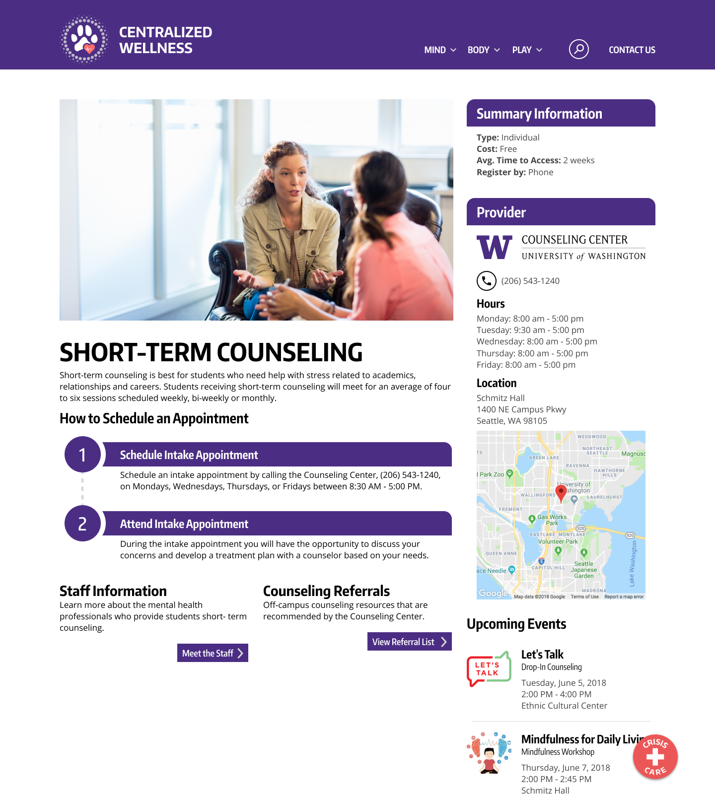Short-term counseling:  An information page that gives the complete details on a specific resource