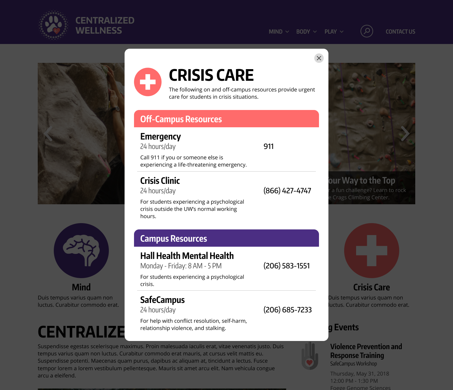 Crisis pop-up:  A pop-up designed for students who need immediate help in a crisis situation