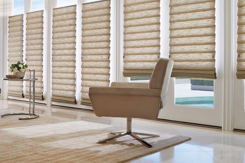 Custom Roman Shades as Fabric Window Treatments for Homes and Rooms Near Kalispell, Montana (MT)