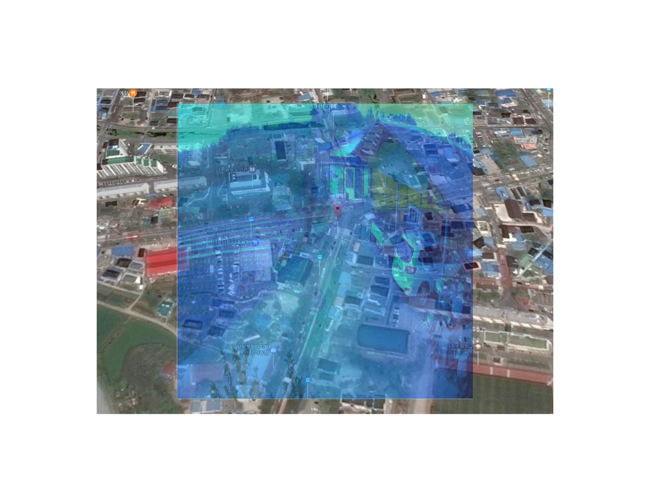 "Cholla, Namdo, South Korea Photo collage (Google Map locator, surveillance camera still) 16"" x 20"" 2017"