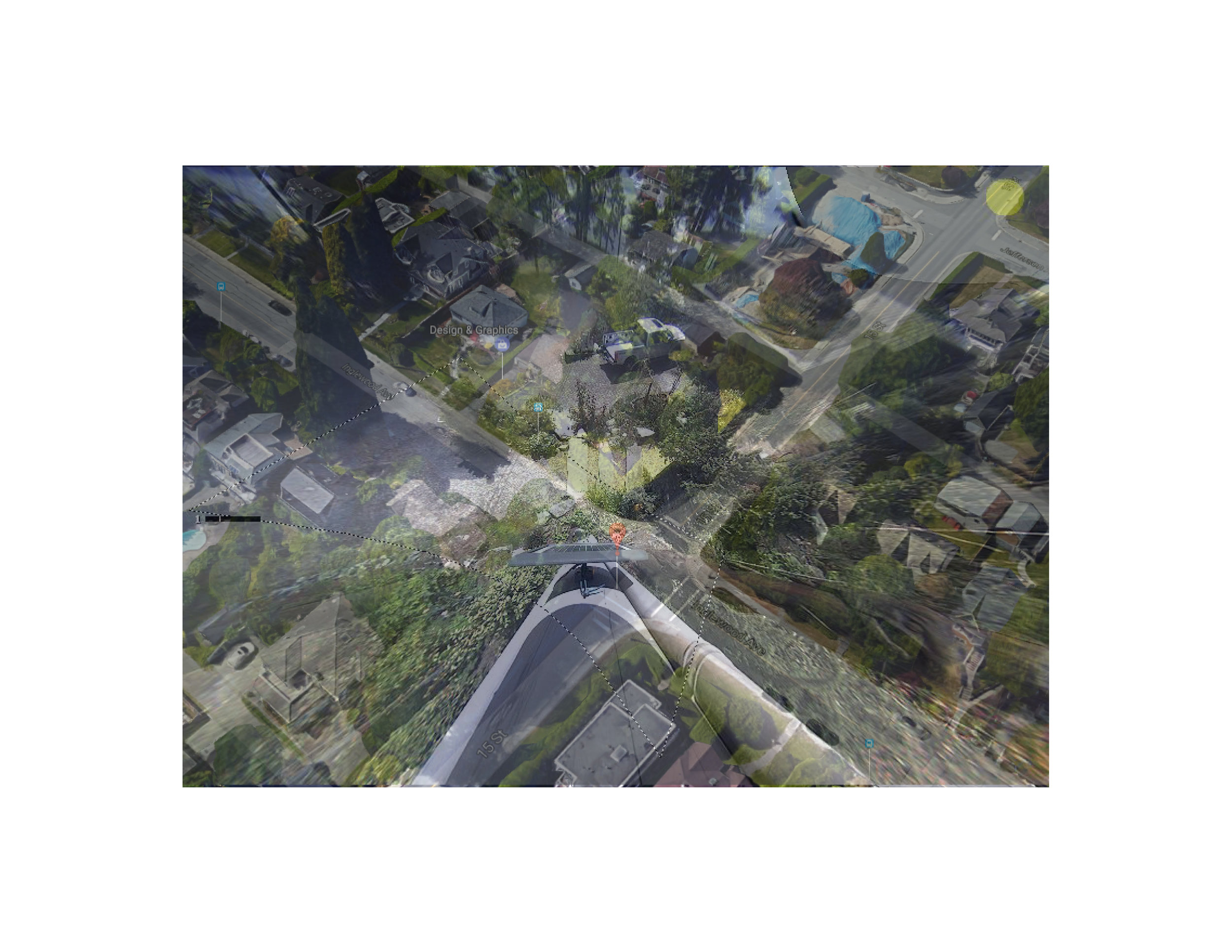 "British Columbia, Canada Photo collage (Google Map locator, surveillance camera still) 16"" x 20"" 2017"