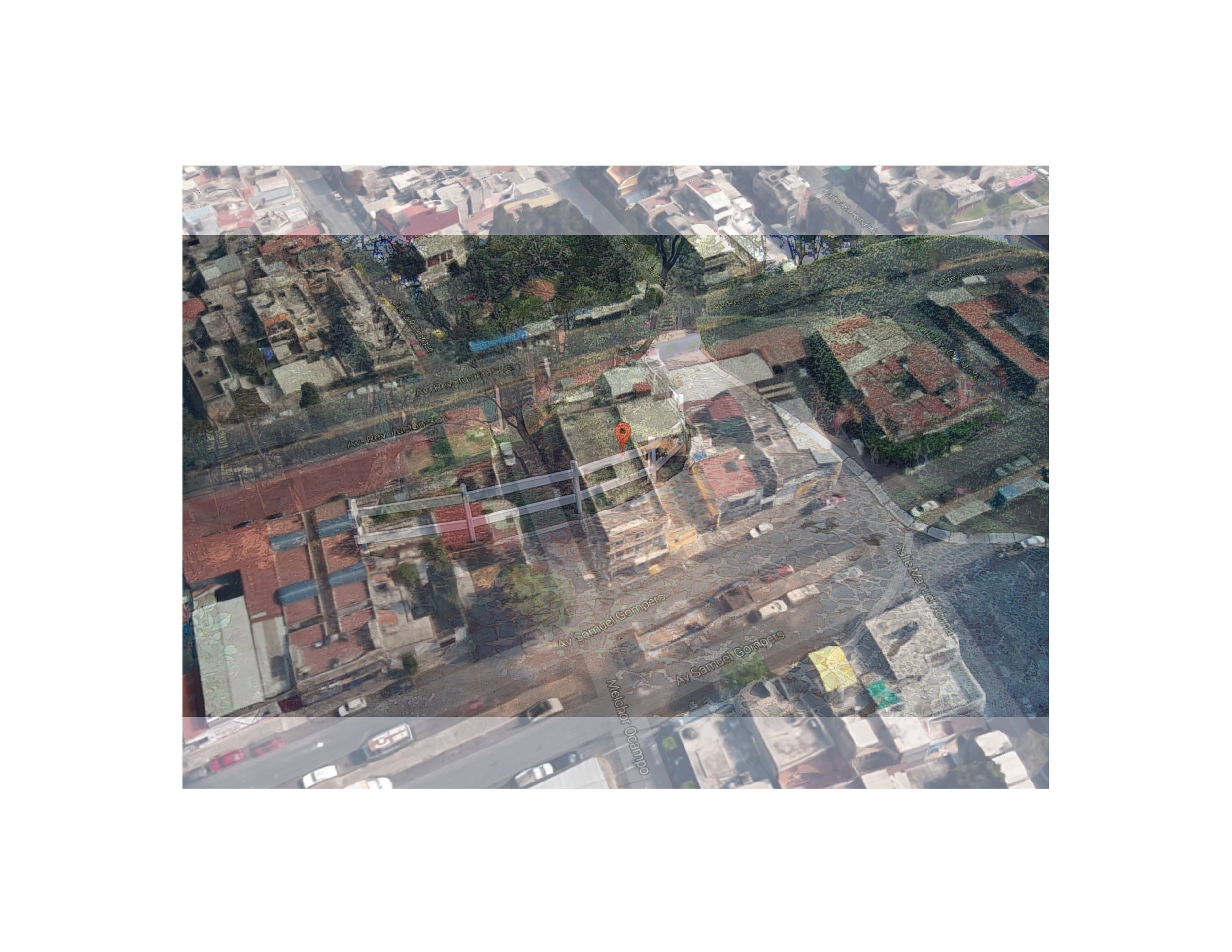 "Iztapalapa, Mexico Photo collage (Google Map locator, surveillance camera still) 16"" x 20"" 2017"