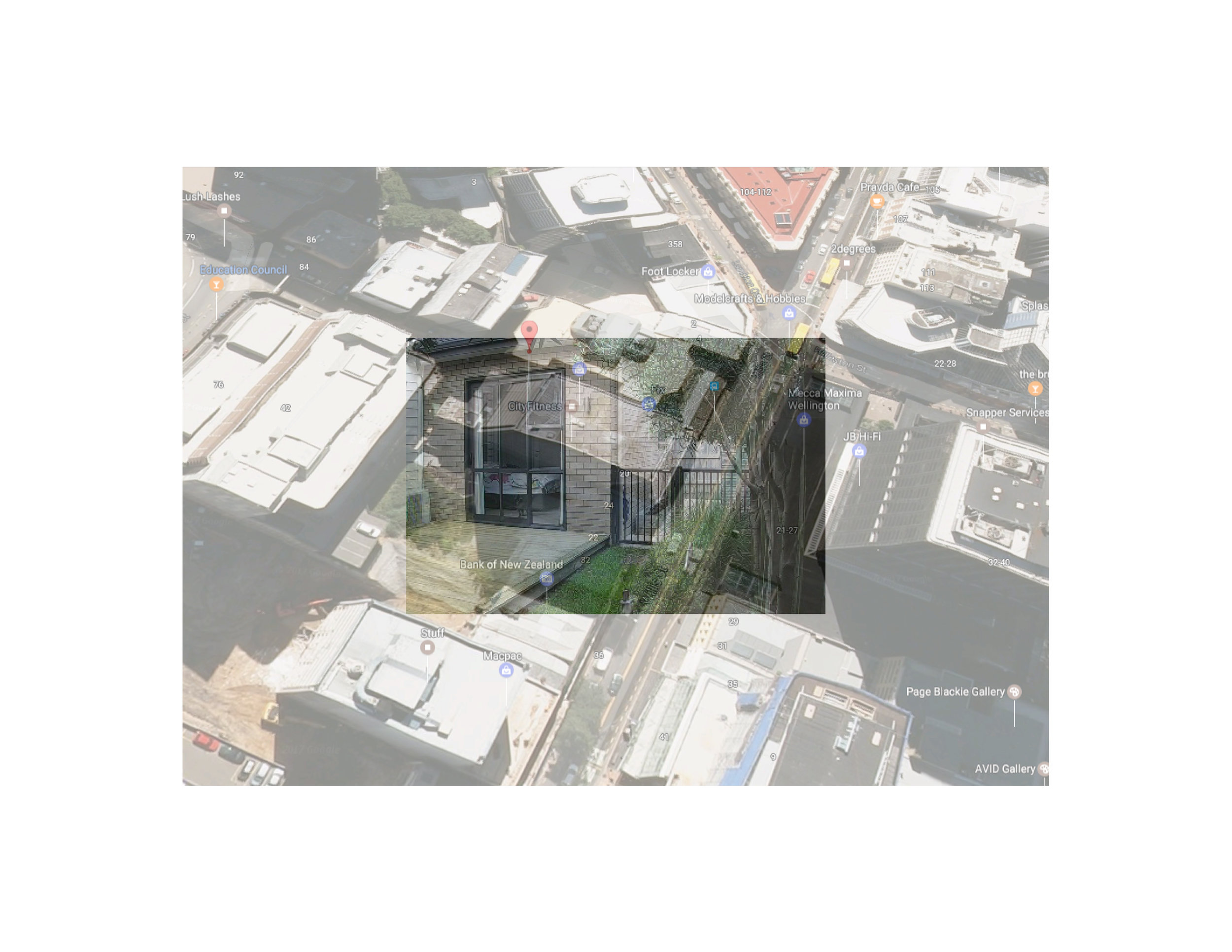 "Wellington, New Zealand Photo collage (Google Map locator, surveillance camera still) 16"" x 20"" 2017"