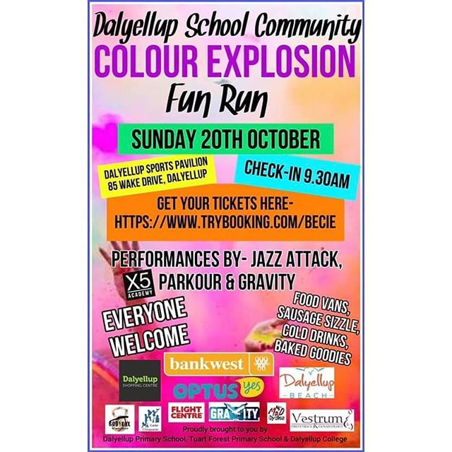ONLY 9 DAYS TO GO! 🎉  Dalyellup Primary School, Tuart Forest Primary School and Dalyellup College have collaborated to bring the Community the most colourful and fun event of the year! With 7 colour stations, obstacles, food vans and entertainment!!!!! This is an event you don't want to miss! ✨Date: 20 October 2019 ✨Time: 10am to 2pm ✨Location: Dalyellup College - Wake Drive, Dalyellup WA 6230  TFPS and DPS school students have received a sponsorship form and will raise funds for their entry. College students, parents, community and other Bunbury and surrounding school students can register by following this link- https://www.trybooking.com/book/event?eid=528844  @dalyellupshoppingcentre is so proud to be a major sponsor!!