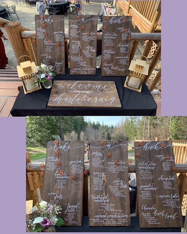Take-A-Hike seating table arrangement for this outdoorsy couple. #PNW #YuenMay4ever #weddingszn