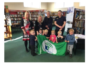 Margaret Greenwood came to meet the children at Ganneys and see our new Eco Schools Flag