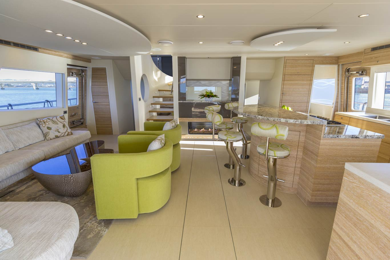 The salon is designed for social occasions, without compromising the necessities of the live aboard lifestyle