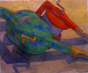 Azores Fishing Reels , watercolour, Jeannine Cook, Collection Elder Services Plan of North Shore, Lynn, MA