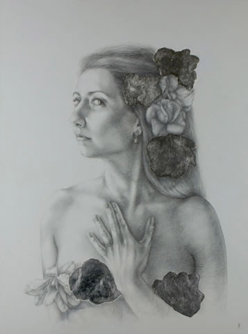 Lauren Amalia Redding - Self Portrait with Ring, 2013, silverpoint and silver leaf on panel, 30 1/2 in x 24 1/2