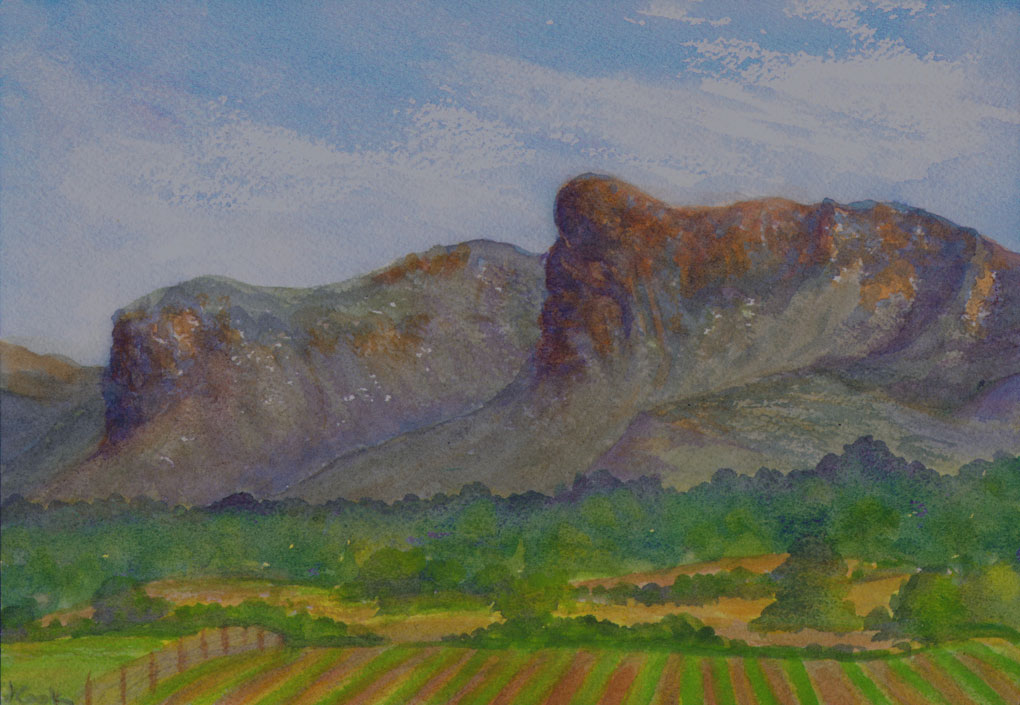 Mallorcan Mountains,  watercolour, Jeannine Cook