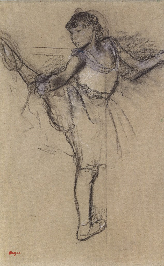 Edgar Degas, A Dancer at the Bar, charcoal and white chalk.