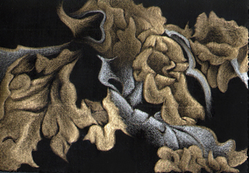 """Lichen Shimmer I,  gold/silverpoint, 3.5 x 5"""", artist Jeannine Cook, private collection"""
