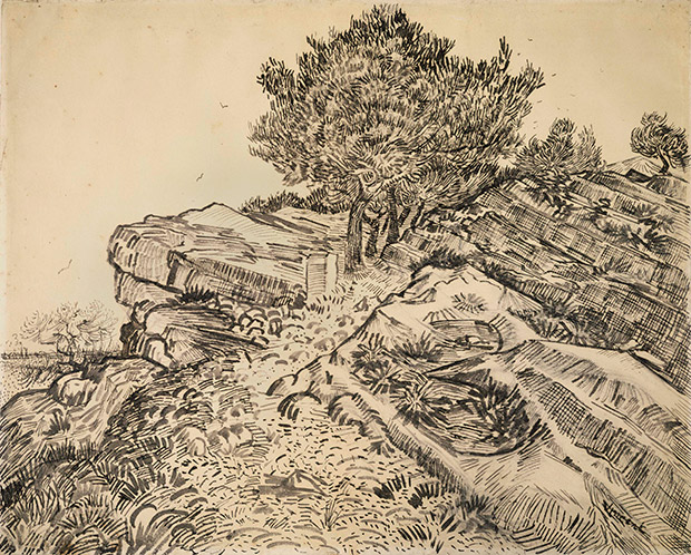 Vincent van Gogh,  The rock of Montmajour with pine trees , 1888. Van Gogh Museum, Amsterdam