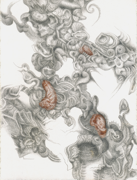 Huitres de Chablis I, silverpoint, Prismacolor, Jeannine Cook