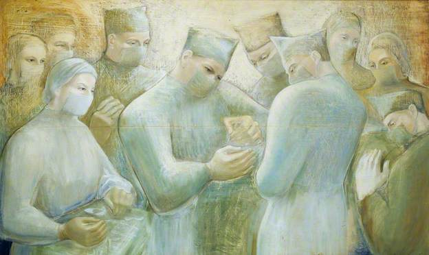 Concourse 2, 1948, oil & pencil on pine board, Barbara Hepworth, (Image courtesy of the Royal College of Surgeons of England)
