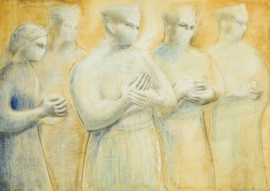 The Hands, 1948, oil & pencil on panel, Barbara Hepworth, (Image courtesy of Bristol Museum and Art Gallery)