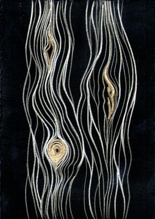 Cedar Lines. gold-silverpoint, artist Jeannine Cook