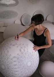 Carol Prusa drawing her Dome sprhere in acrylic, silverpoint, silver leaf (image courtesy of the artist)