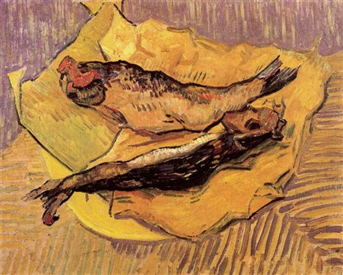Bloaters on a Piece of Yellow Paper, oil on canvas, 1889, Vincent Van Gogh