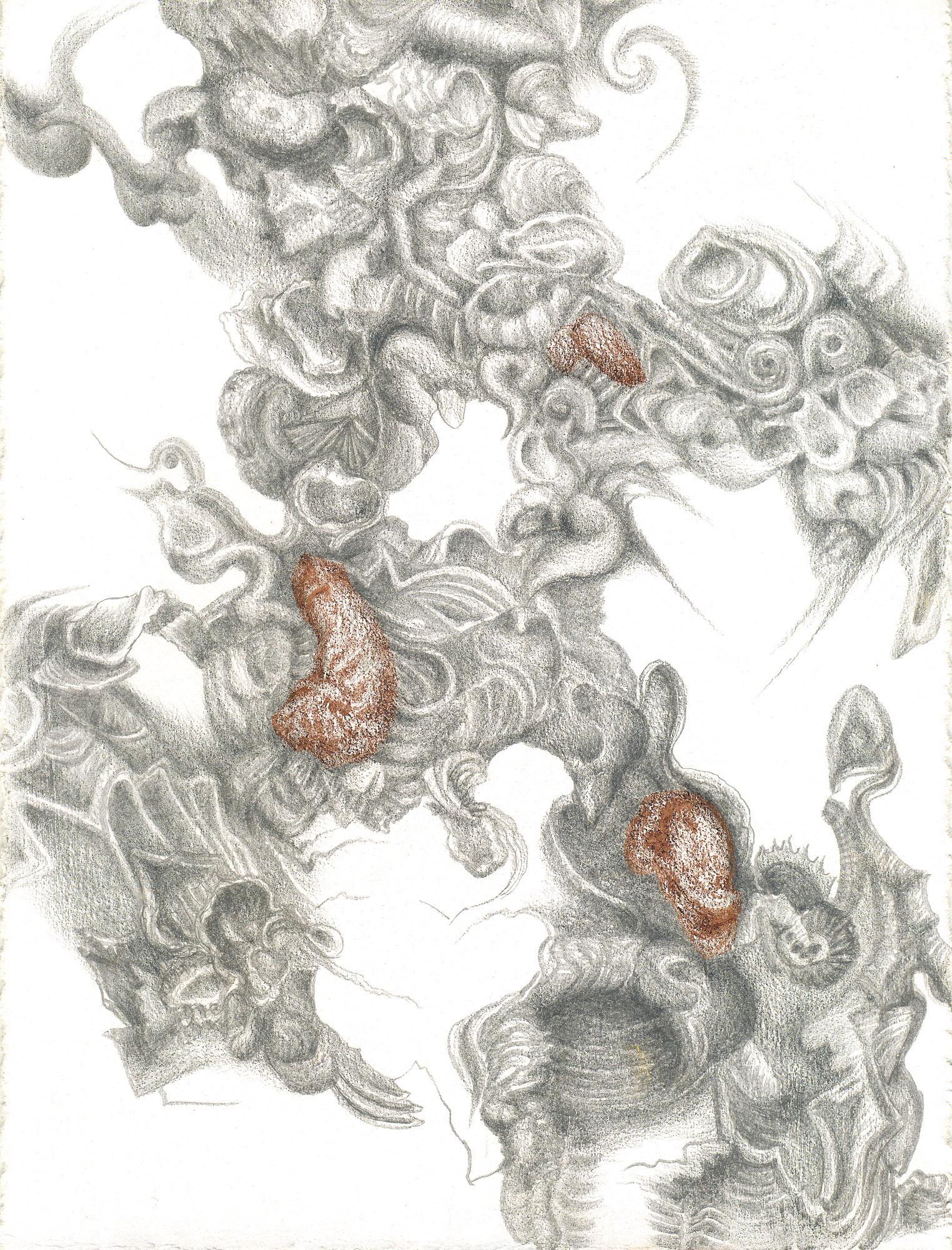 Huitres de Chablis I , silverpoint-Prismacolor, Jeannine Cook artist