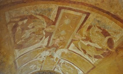 Frescoes painted in ocres, Romanesque crypt, St. Etienne Cathedral, Auxerre
