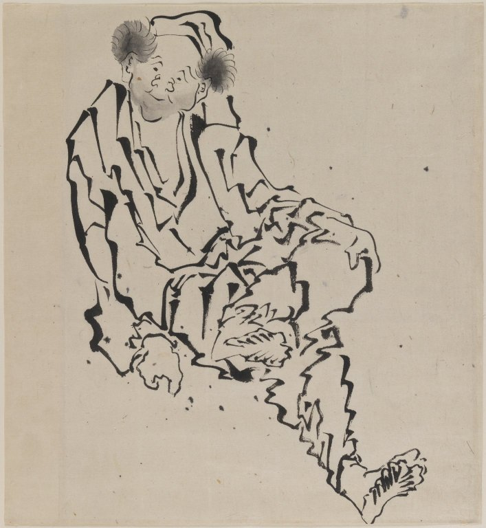 Drawing of Man Seated with Left Leg Resting over Right Knee, Katsushika Hokusai (Image courtesy of Brooklyn Museum)