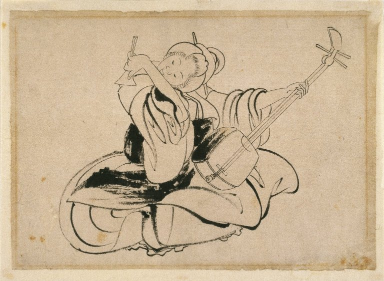 Seated Woman with Shamisen, Katsushika Hokusai, (Image courtesy of the Brookly Museum)