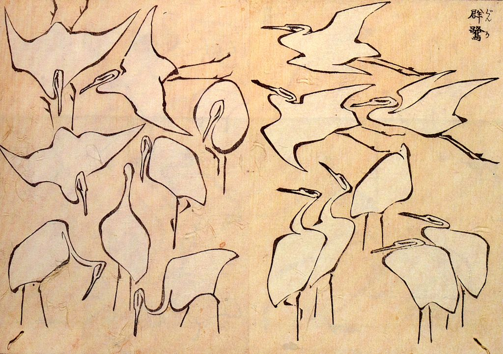 Egrets from Quick Lessons in Simplified Drawing, Hokusai, 1823