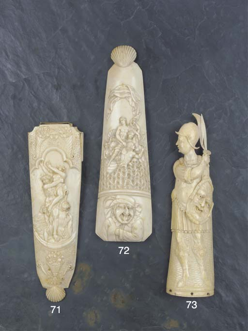 Three ivory tobacco graters, Dieppe, France, later 17th-early 18th century. Image courtesy of Christies, London
