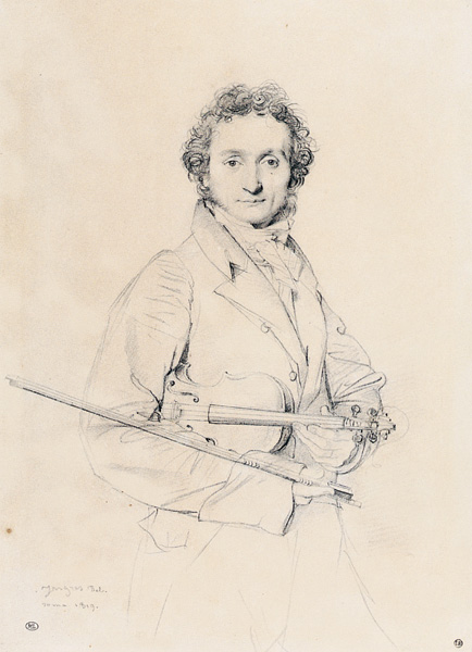 Paganini, pencil drawing by Jean Auguste Dominique Ingres, 1819, image courtesy of the Louvre, Paris