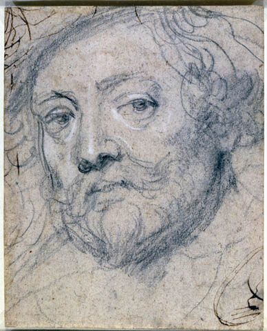 Peter Paul Rubens (Flemish, 1577–1640) Self-Portrait in Old Age, 1633–40 Black chalk, heightened with white, on oatmeal paper, pen and brown ink lines at top left and bottom right corners 200 x 160 mm (7-7/8 x 6-5/16 in.) Lent by Her Majesty Queen Elizabeth II, Royal Library, Windsor Castle 6411 (recto)