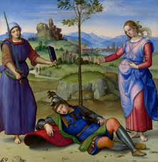 An Allegory, c. 1504, oil on poplar, Raphael, (Image courtesy of the National Gallery, London)