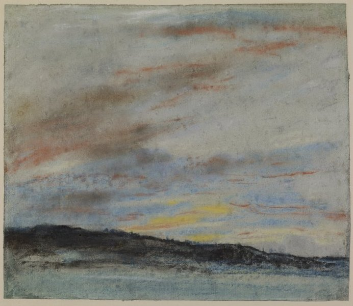 Eugene Delacroix, Study of the Sky at Sunseet, 1849-50, pastel-coloured chalk on blue paper, (Image courtesy of The British Museum). This study belonged to Degas.