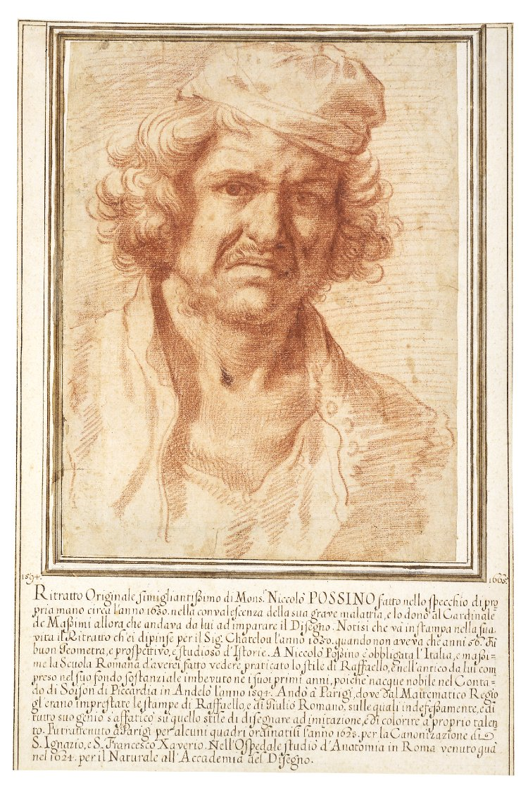 Nicolas Poussin, (1594-1665), Self portrait , red chalk, c. 1630 (image courtesy of the British Museum)