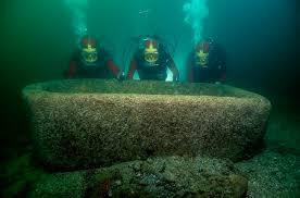 "Pink granite ""garden"" tank, still underwater at Thonis-Heracleion"