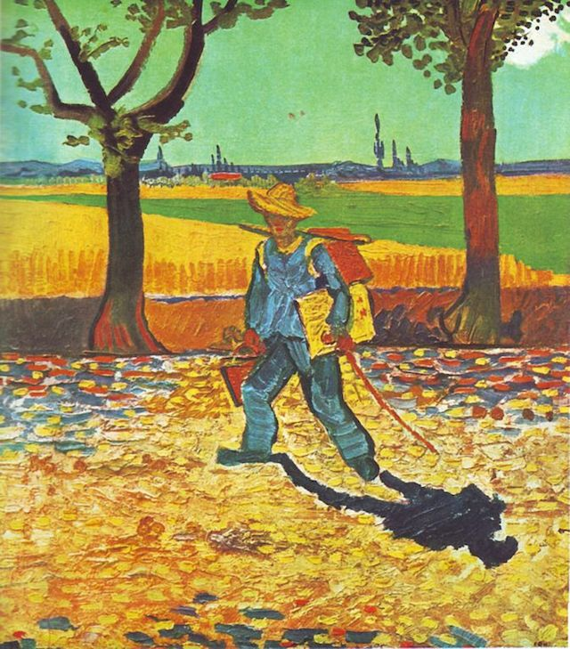 """Painter on His Way to Work"" , Vincent van Gogh, 1888 oil on canvas, (Image via Wikimedia.jpg), work lost in World War II fire"