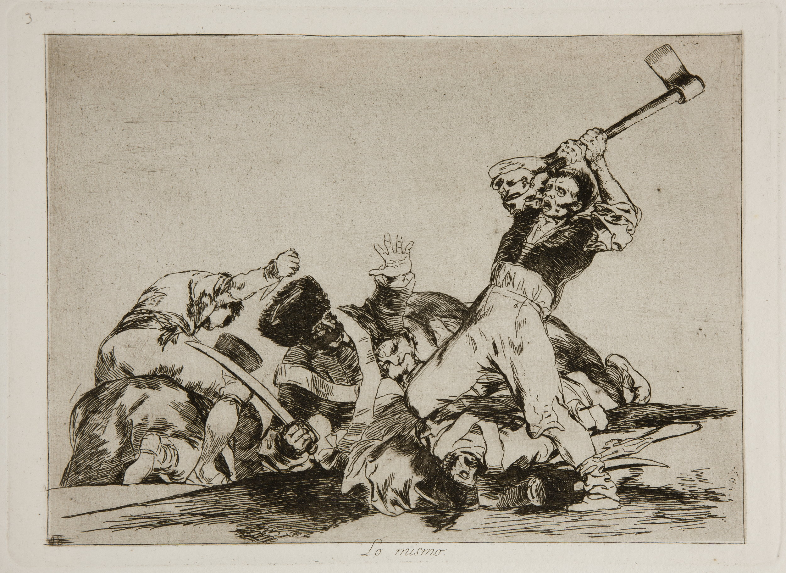 Plate-3. Lo mismo - The same. A man about to cut off the head of a soldier with an axe. Francisco Goya, Los Desastres de la Guerra. (Image courtesy of the Prado Museum)