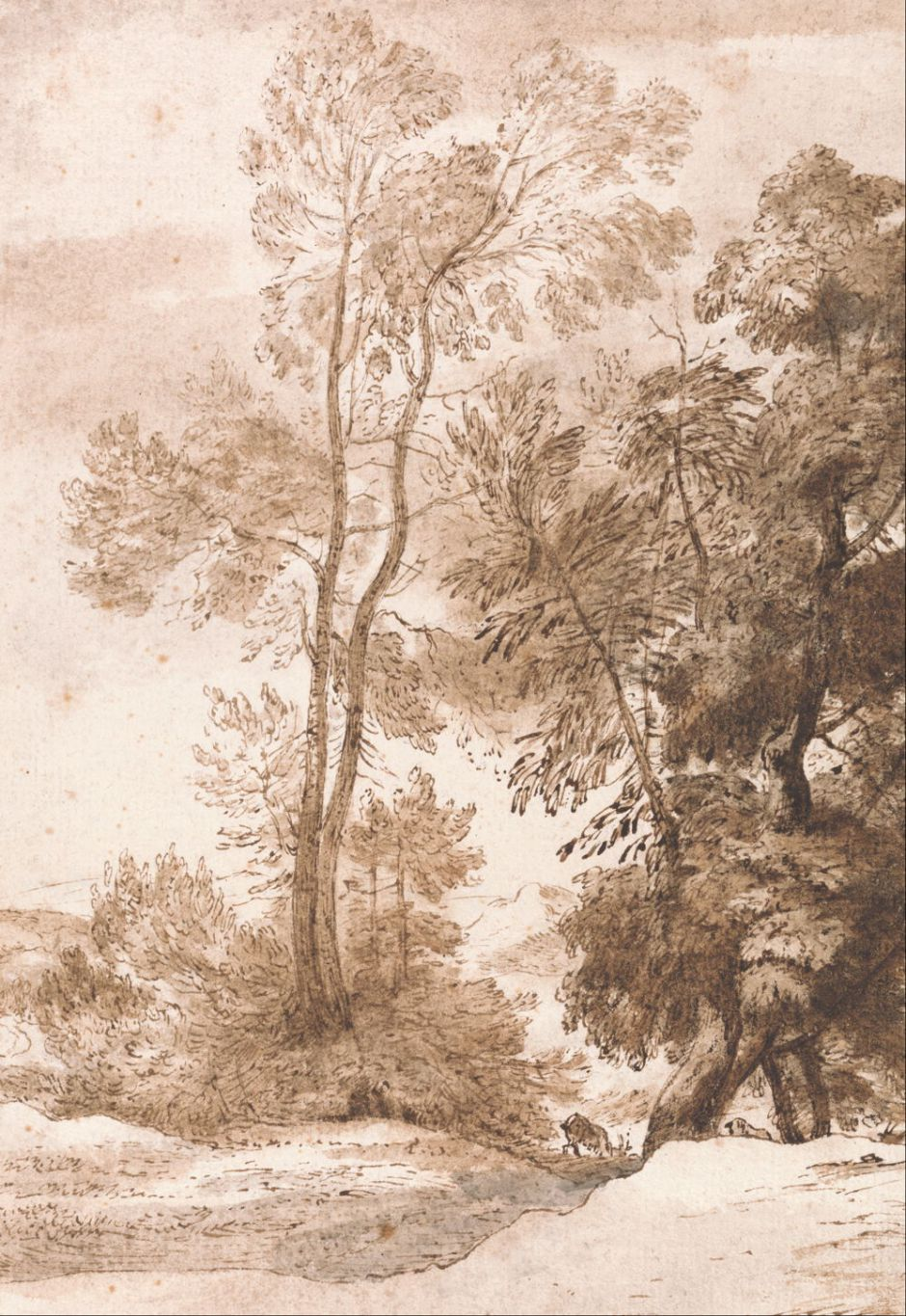 John Constable (1776–1837), Trees and Deer (1825), pen and brown ink with brown and gray wash on medium, rough, cream laid paper, (Image courtesy of Yale Center for British Art, New Haven, CT)