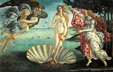 The Birth of Venus, tempera on canvas, Sandro Boticelli, 1482-85, (Image courtesy of the Uffizi Gallery Museum)