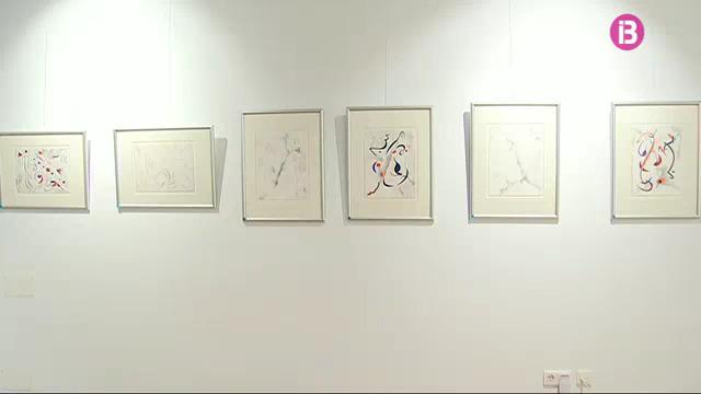 "View of ""Pensando en Miró"" silverpoint exhibition in Sa Tafona Gallery, (Image courtesy of Jaime Anka, IB3 television)"