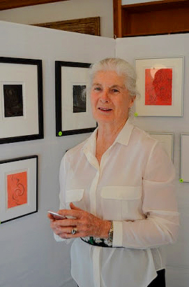 """Jeannine, in front of some of the displayed silverpoints at """"Evoking Ashantilly"""""""