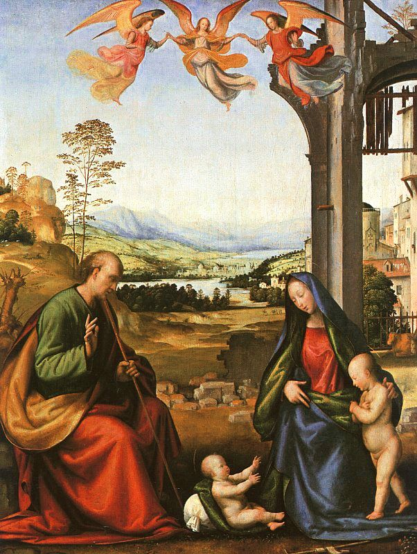 Fra_Bartolommeo, The Holy Family with the Infant St John in a Landscape,  1506-07, Thyssen Museum, Madrid