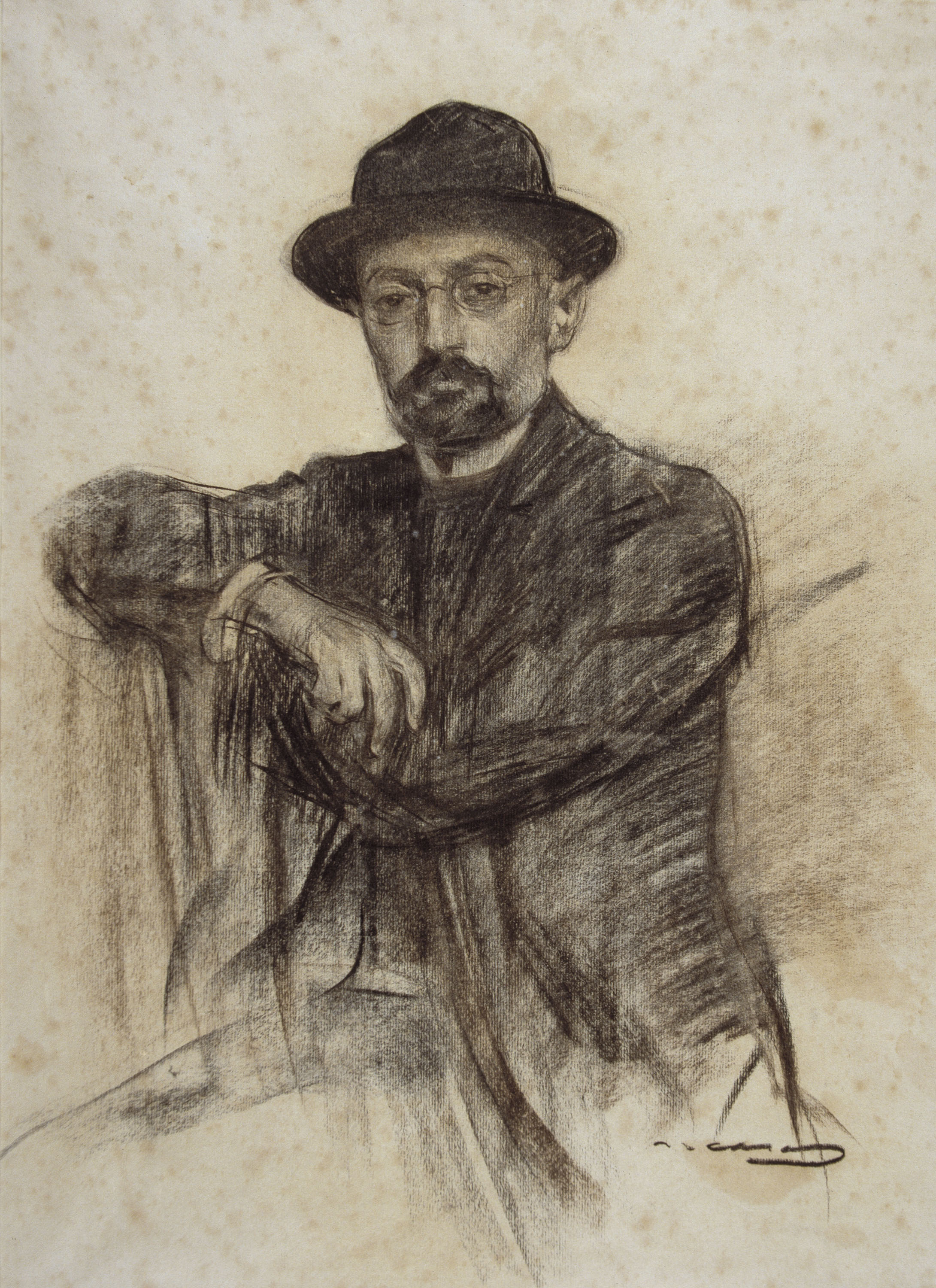 Writer Miguel de Unamuno, charcoal on paper, 1904-05, Ramon Casas