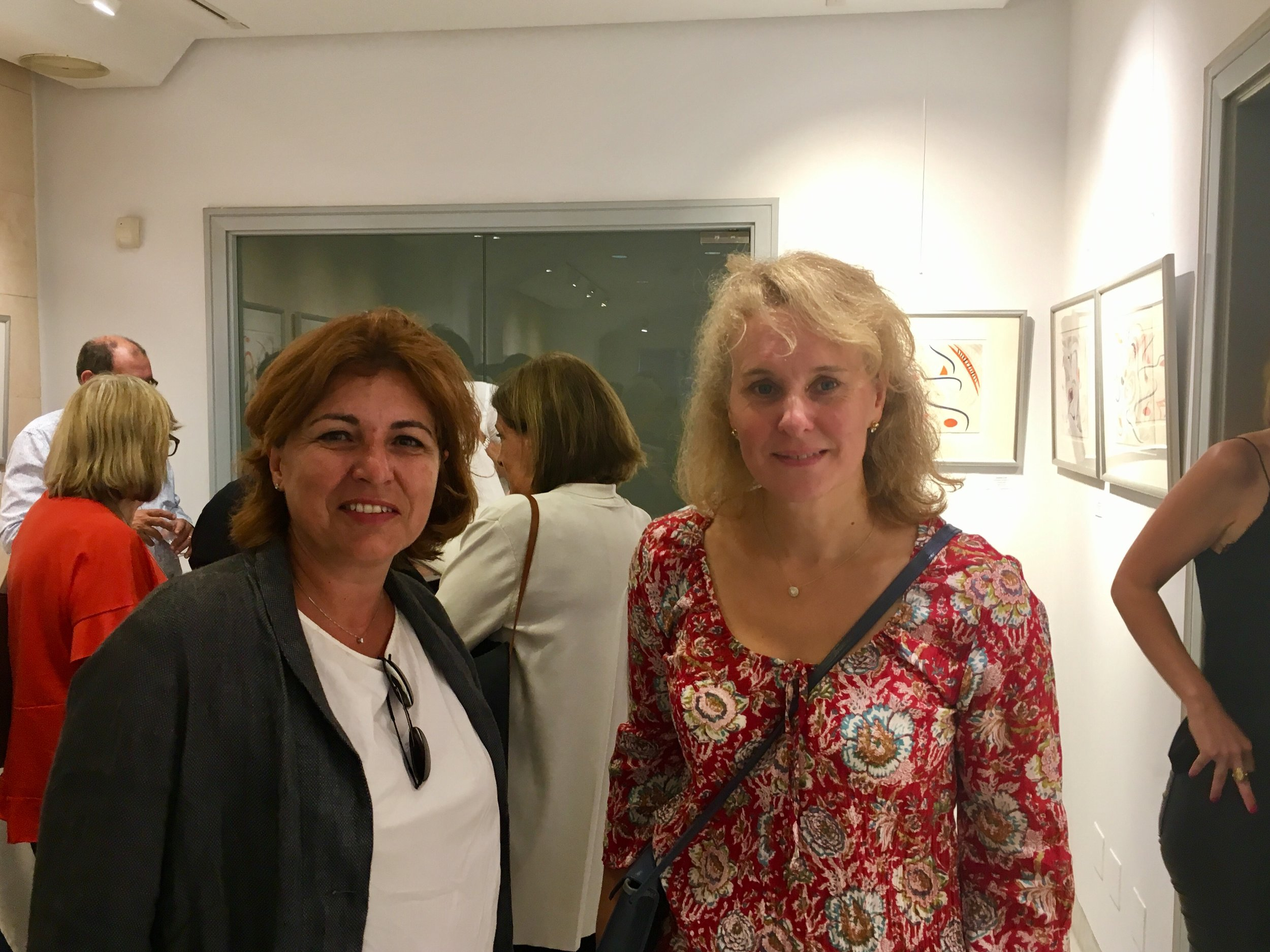 """l to r, Cati Fiol Ferrer, president of Catikät,(featuring handmade Mallorcan products), and Emma Ellis, author of a recent non-fiction best-seller, """"Resolution"""" ."""