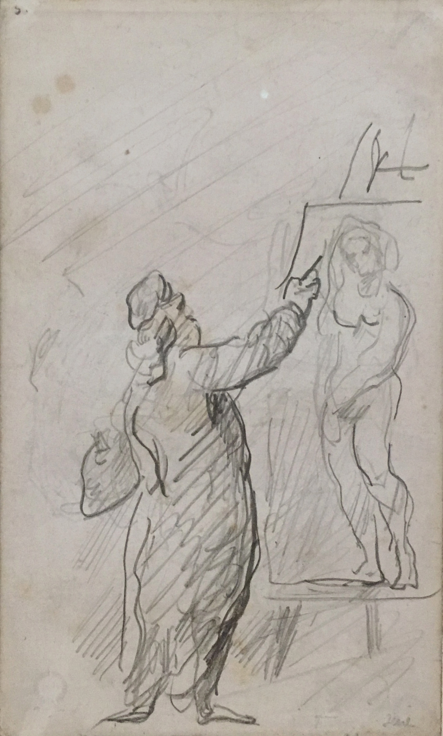 "The Painter (After ""The Unknown Masterpiece"" by Balzac),  P. Cézanne,  1868-71, pencil on paper, Kunstmuseum Basel"