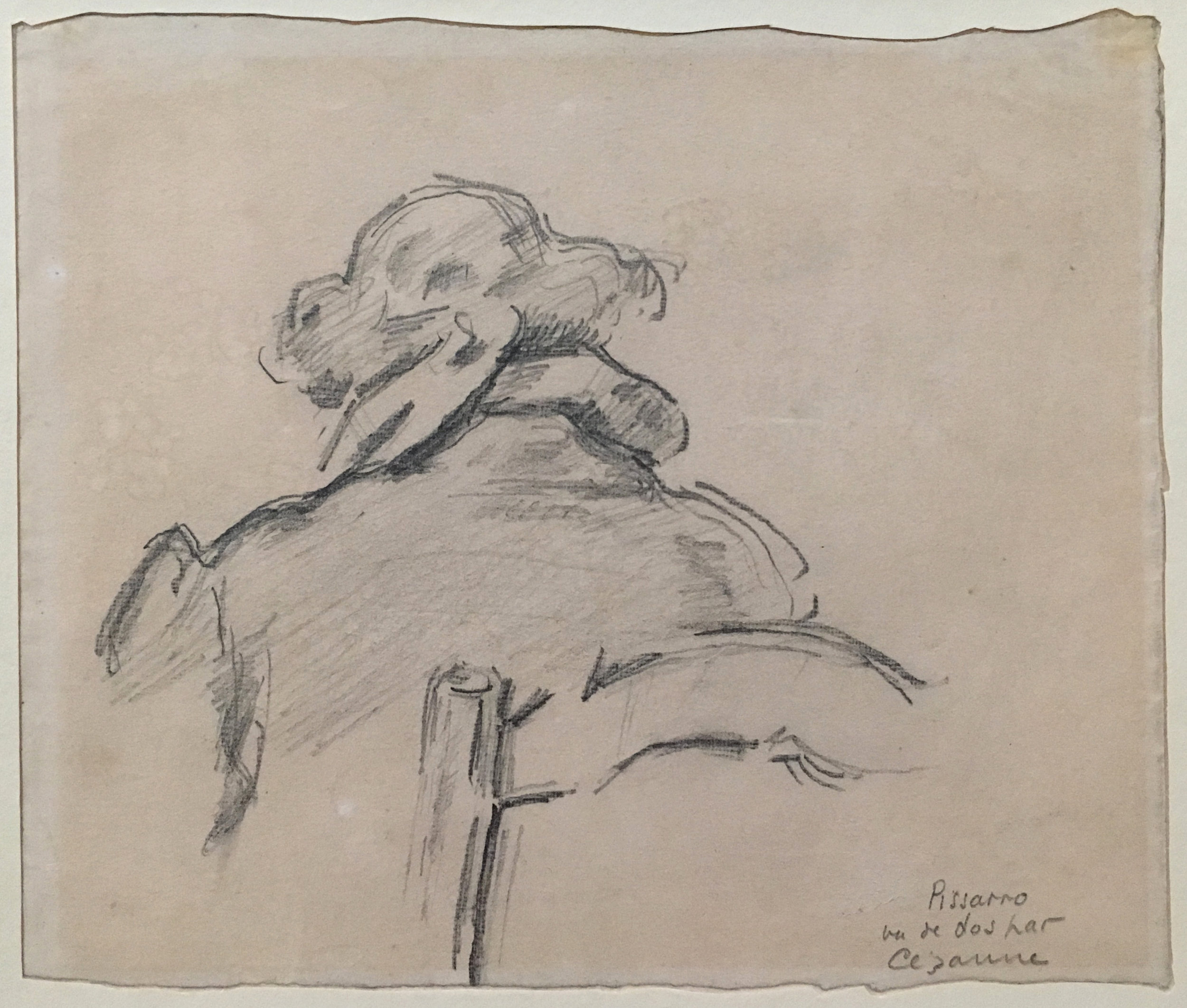 Camille Pissarro, seen from behind.  P. Cézanne, 1874-77, pencil on paper, Kunstmuseum Basel