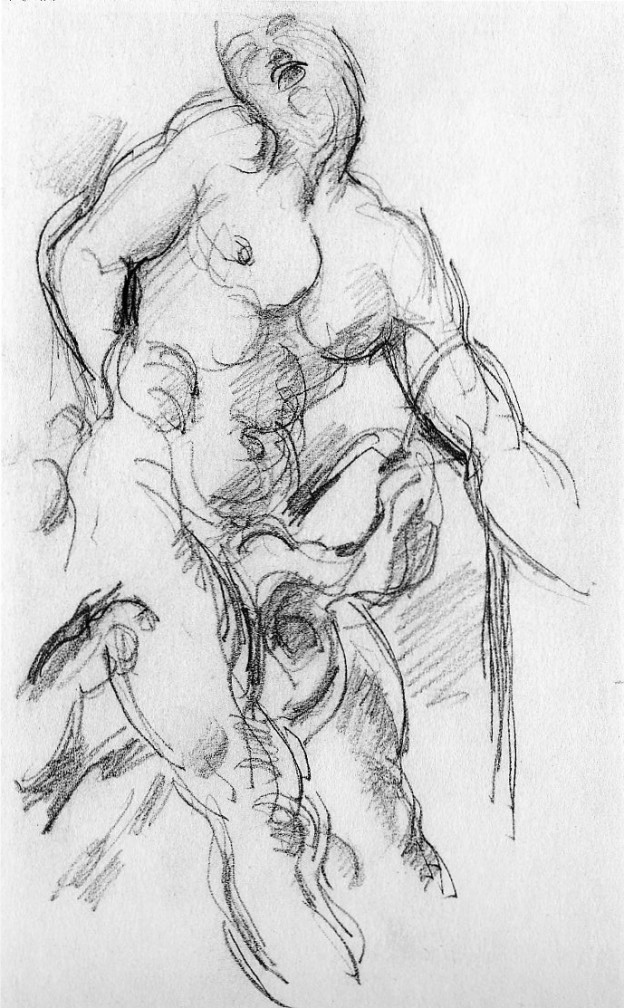 "One of a series of a dozen studies Cézanne did from Pierre Puget's ""Milo of Croton"", pencil on paper, 1897-1900,  Kunstmuseum Basel"
