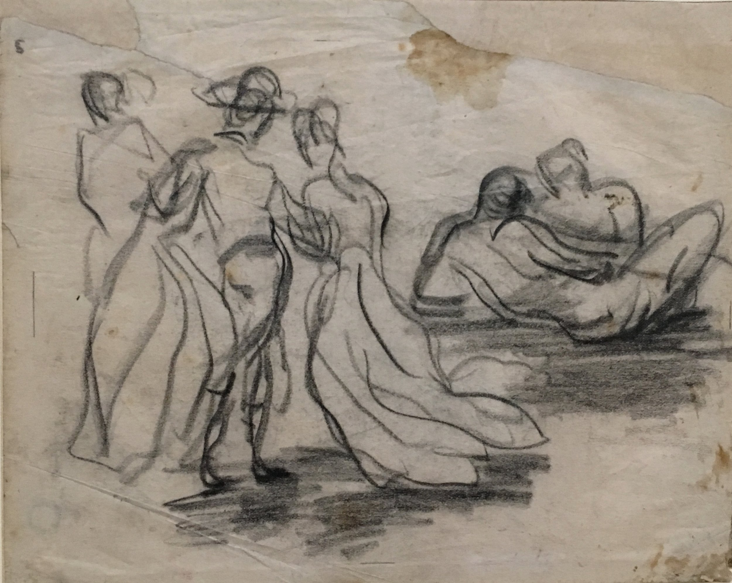 Composition with Five Figures,  Fêtes Galantes, pencil on blue writing paper, P. Cézanne, 1868-71, Kunstmuseum Basel