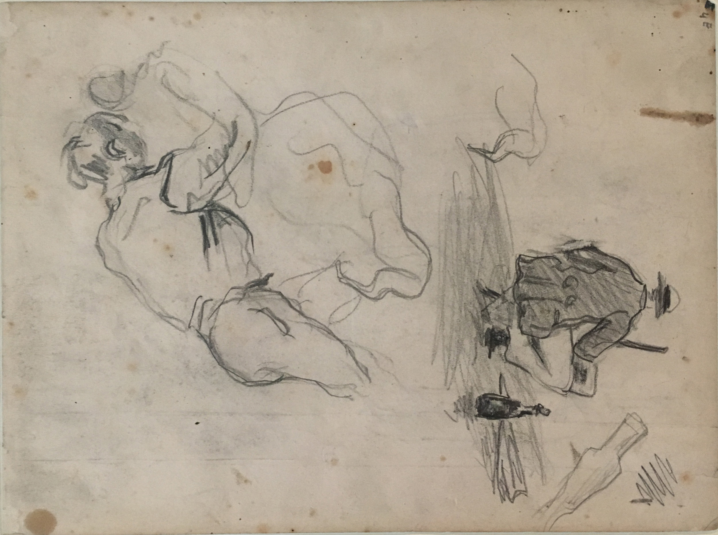 "Study for ""L'Orgie"" (c. 1867) and Painter Outdoors, pencil of paper P. Cézanne. 1864-68, Kunstmuseum Basel"