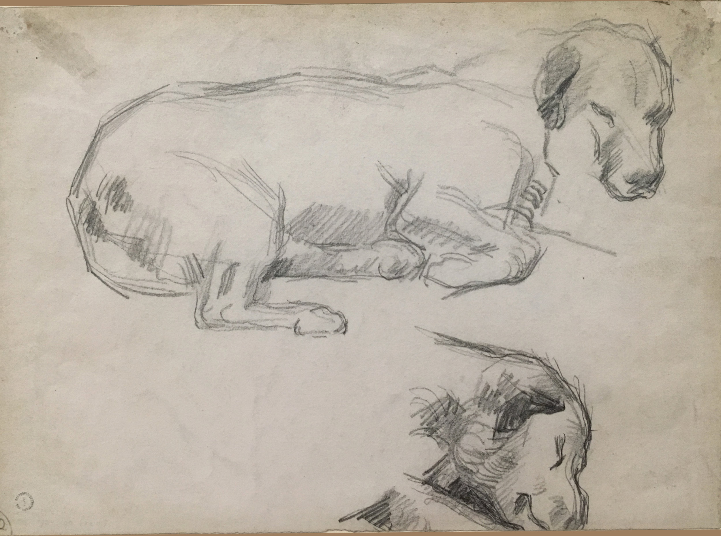 Sleeping Dog, 1876-78, pencil on paper, P. Cézanne, Kunstmuseum Basel